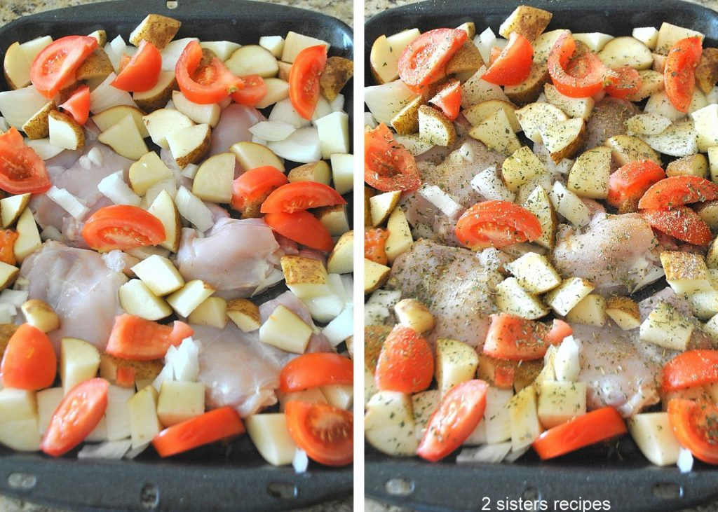 Two photos of the chicken and veggies in the baking dish. by 2sistersrecipes.com