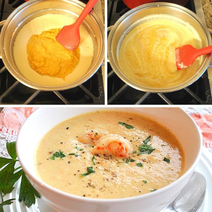 Stirring the bisque in a saucepan to combine. by 2sistersrecipes.com