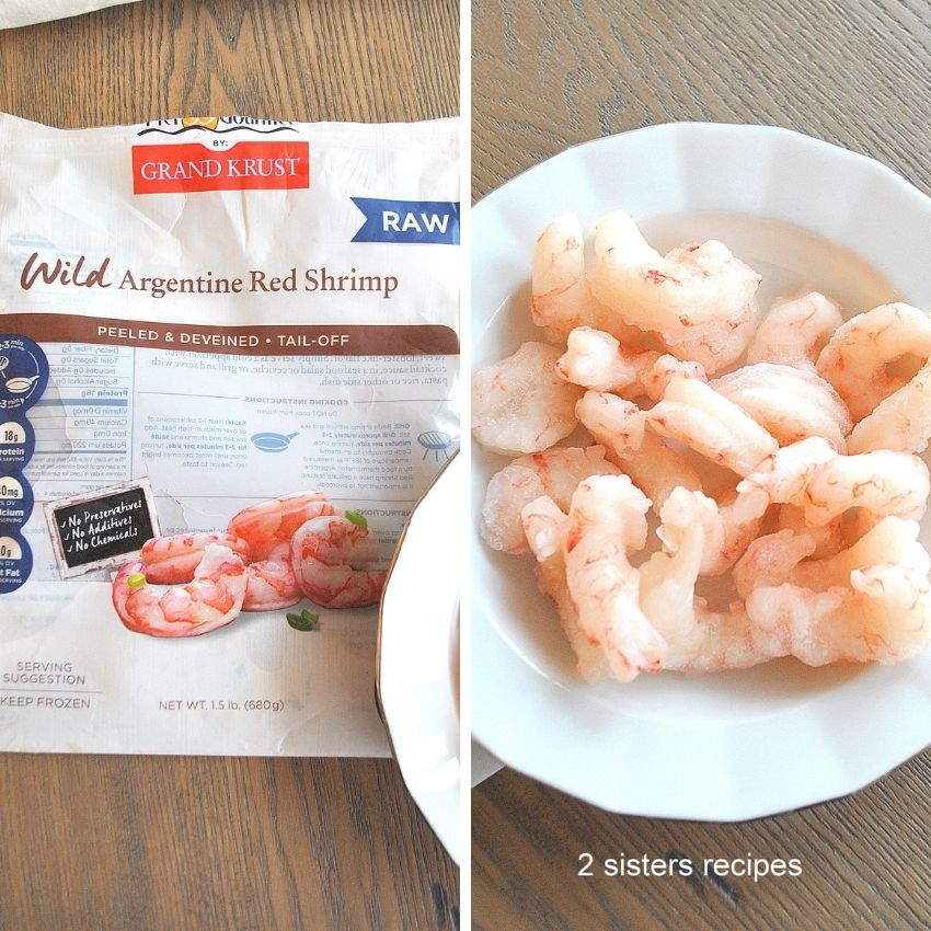 Photo of package of frozen shrimp, and shrimp in a white bowl. by 2sistesrecipes.com