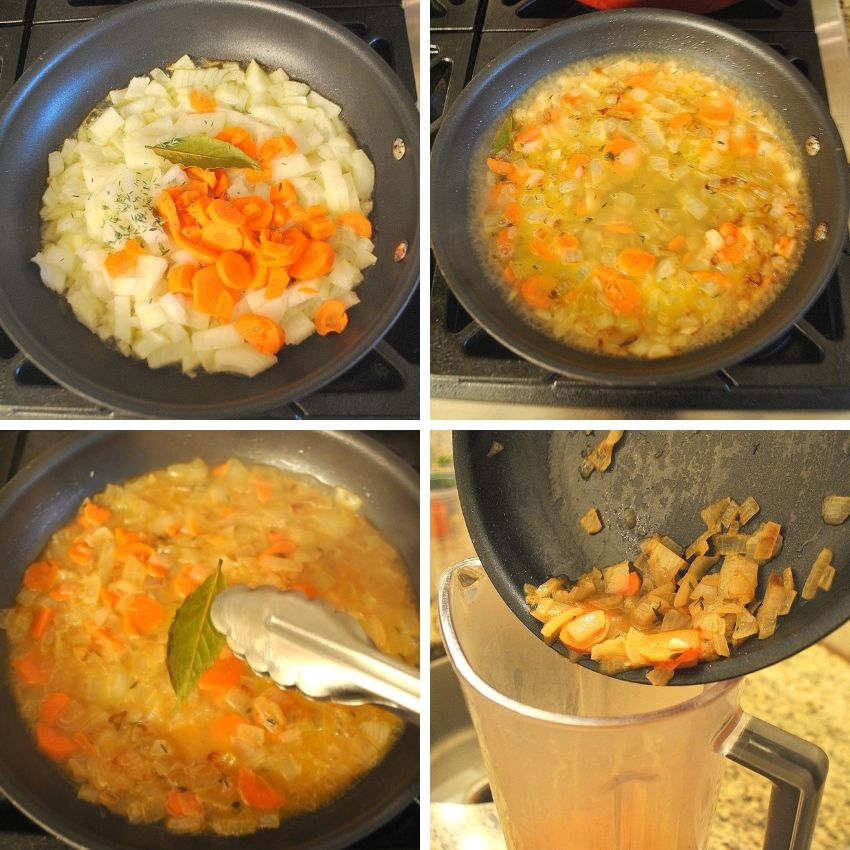 Steps to saute the vegetables for the bisque. by 2sistersrecipes.com